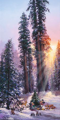 """Rodel Gonzalez, Disney Fine Art Holiday Collecton,""""The Perfect Tree,"""" Low Inventory, available at Amour d'Art Fine Art Gallery"""