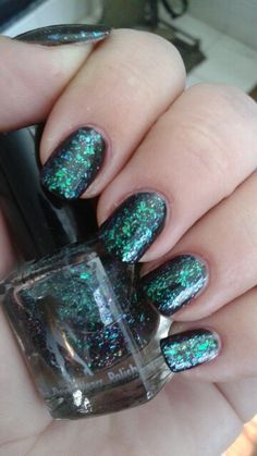 "The Devil Wears Polish ""Saddle Up Seahorse"" (topper)/NYC New York Color ""Black Lace Creme"""