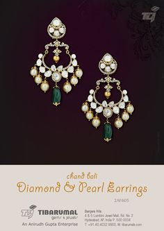 Chand Bali Diamond & Pearl Earrings from Tibarumal Gems & Jewels - 2AF605