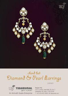 Chand Bali Diamond & Pearl Earrings from Tibarumal Gems & Jewels - 2AF605