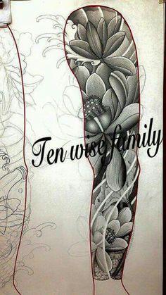 Full Tattoo, Full Arm Tattoos, Tribal Tattoos, 3d Tattoos, Polynesian Tattoos, Tattoo Ink, Japanese Colors, Japanese Flowers, Shoulder Armor Tattoo