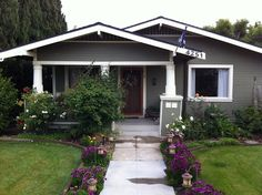 exterior paint color idea. Love the purple flowers too!