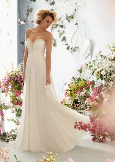 Informal Wedding Dress From Voyage By Mori Lee Dress Style 6762 Crystal Beaded Embroidery Edging Luxe Chiffon