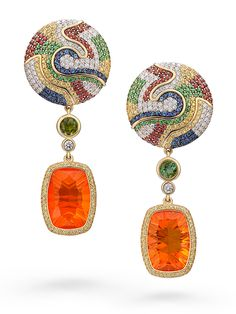 SAFARI SUNRISE EARRINGS by VOTIVE •  Mexican Fire Opal, Tourmalines, Tzavorites, Blue, Red and Yellow Sapphires, Black and White Diamonds, 18k Yellow Gold