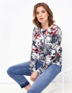 Sweter w różne wzory,Blau/Rot/Orange Druck