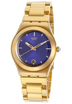 Women's Irony Blue Dial Gold Tone Ion Plated Stainless Steel