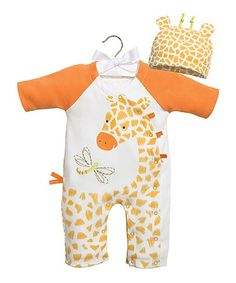 $12.99 marked down from $34! Orange & White Giraffe Playsuit & Beanie Set - Infant #baby #zulilyfinds