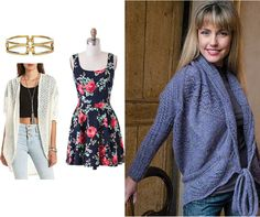 Look courtesy of College Fashion. Pattern is the Draped Cardigan in Gioiello.