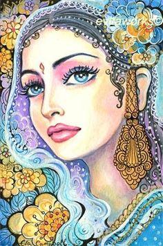 Resultado de imagen de pinturas de mujeres de la india