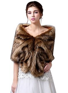 Winter Wedding Ideas - ROSAFASHION Womens Faux Fur Wrap Wedding Bridal Shawl Cape Stoles for Winter Brown 0X >>> Want to know more, click on the image. #WinterWeddingIdeas