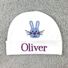 Personalized baby hat with bunny - micro preemie   preemie   newborn   0-3  months   3-6 months 78cd590ca353