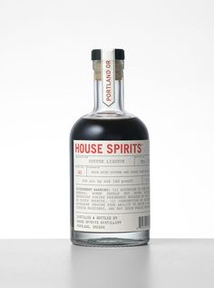 House Spirits Coffee Liqueur is a small-batch American coffee liqueur, made from a base of rum and cold-pressed coffee from Portland, Oregon's Stumptown Coffee Roasters.Founded in House Spirits is a Portland, Oregon-based craft distillery best know… Takeaway Packaging, Bottle Packaging, Bottle Labels, Salad Packaging, Coffee Packaging, Wine Labels, Design Café, Label Design, Packaging Design
