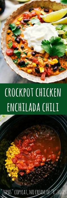 Delicious simple (dump it and forget about it) SLOW COOKER Chicken Enchilada Chili -- no cream of soups needed! Crockpot Chicken Enchilada Soup, Crockpot Healthy Chili, Slow Cooker Chicken Chilli, No Bean Chili Crockpot, Crockpot Meals, Enchilada Sauce, Crockpot Dishes, Crock Pot Soup, Cooked Chicken