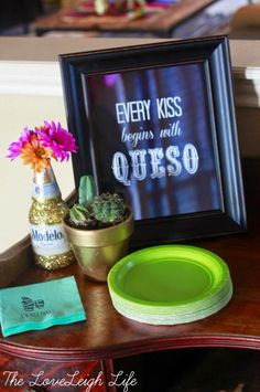 """Every kiss begins with queso"" sign for a fun cinco de mayo themed bridal shower. - ""Every kiss begins with queso"" sign for a fun cinco de mayo themed bridal shower // Get inspire - Bridal Shower Planning, Bridal Shower Signs, Bridal Shower Party, Bridal Shower Decorations, Decoration Party, Couples Shower Themes, Mexican Bridal Showers, Fiesta Bridal Showers, Themed Bridal Showers"
