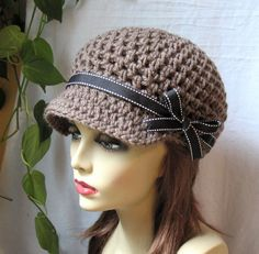 Womens Hat, Taupe Newsboy - for my girl. Knit Crochet, Crochet Hats, Crochet Ideas, Sombrero A Crochet, Diva Fashion, Fashion Hats, Wearing A Hat, Love Hat, Cute Hats
