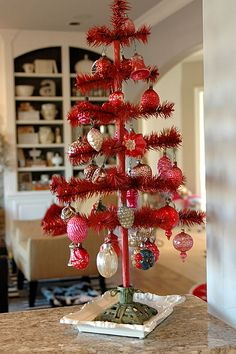 Red Christmas tree or Valentine's Day Tree