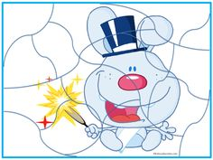 New Year Bunny Jigsaw Puzzle http://www.kidscanhavefun.com/new-years-activities.htm #newyear #puzzle