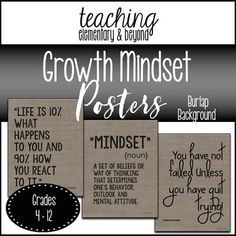 These 75 burlap background growth mindset posters would look great to brighten up your classroom on a budget! These would look great on their own or mounted on black poster board! Great student prompts for discussions! Download the preview to get a better