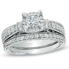 1-1/5 CT. T.W. Diamond Vintage-Style Bridal Set in 14K White Gold