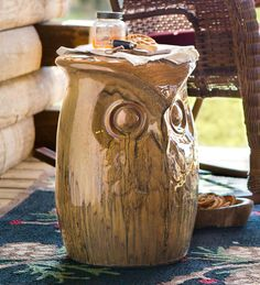 Ceramic Owl Side Table and Garden Stool   Outdoor Side Tables