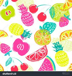Fashion Girlish funny wallpapers. Seamless pattern with yellow pineapples, juicy strawberries and oranges on white background. Bright summer fruits illustration. Fruit mix design for fabric and decor.