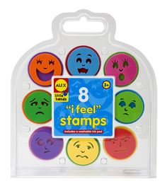 For teaching young children about emotions, the I Feel Stamp Kit by ALEX is a great tool. Feeling sad? Stamp a blue frown. Having a happy day? Try a yellow