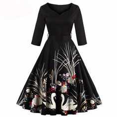 Swan Print Vintage Style Dress