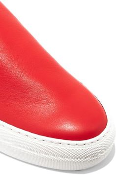 Tibi - Charlie Leather Slip-on Sneakers - Red - IT