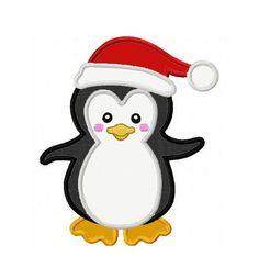 Christmas Machine Embroidery Designs | Christmas Penguin Applique Machine Embroidery Design NO:0094