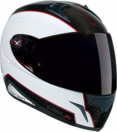 Nexx XR1R Carbon motorcycle helmet in white/red