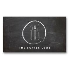 FORK SPOON KNIFE CHALKBOARD LOGO for Restaurants, Chefs, Catering Business Card