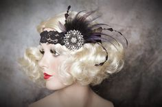 Flapper Headband-Feather Headband-1920's-Gatsby Party- Wedding- Rhinestone with feather Accents by Petalprops on Etsy https://www.etsy.com/listing/469721320/flapper-headband-feather-headband-1920s