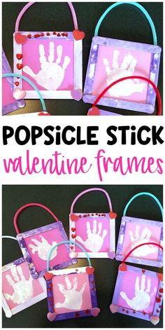 Valentine popsicle stick frames - cute valentines day craft for kids to make! What a cute handprint keepsake for parents gifts.