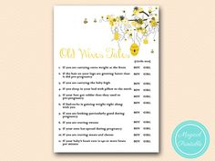 Old Wives Tales Baby shower old wives tales by MagicalPrintable