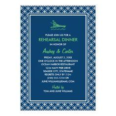 Blue Wedding Rehearsal Dinner Invitations Rehearsal Dinner | Navy and Green Nautical Theme Card
