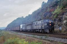 Photo by Rodney Peterson. Pennsylvania Railroad FP7-9853 is leading an EB freight at Jacks Run. September 29, 1962 in Pittsburgh, PA. Pennsylvania Railroad, Locomotive, Pittsburgh Pa, September, Photos, Trains, Pictures, Locs