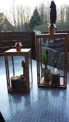 Gamle lanterner fik kobber spray og lidt forårs stemning