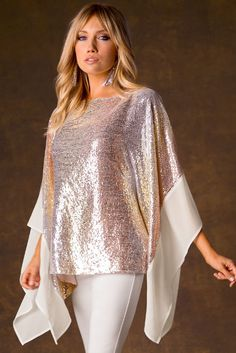 Multicolor Sequin Poncho - A vibrant, elegant and flowing poncho with allover sparkling sequins and chiffon sleeves that is so effortless youll want to wear it for every occasion. You can pair with jus African Fashion Dresses, Hijab Fashion, Fashion Outfits, Sequin Outfit, Western Dresses, Mode Hijab, Trendy Tops, Holiday Fashion, Blouse Designs