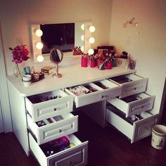 Vanity set makeup dressing table makeup vanity table with lighted mirror modern round wall mount makeup vanity bedroom vanity with[. Makeup Desk, Makeup Rooms, Makeup Storage, Makeup Dresser, Vanity Organization, Diy Makeup, Makeup Tables, Organization Ideas, Makeup Vanity Lighting