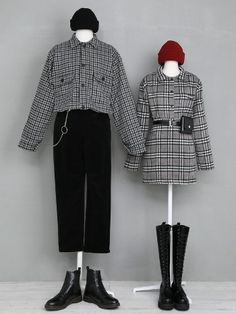 edgy black and grey check shirt couple outfit Kpop Outfits, Edgy Outfits, Cute Outfits, Fashion Outfits, Womens Fashion, Rock Outfits, Vogue Fashion, Look Fashion, Timeless Fashion