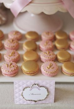 pink and gold macaroons. instructions on how to make them at http://bubbleandsweet.blogspot.com.au/2012/08/pink-and-gold-decorated-royal-princess.html