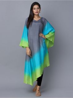 Grey Blue Green Ombre Silk Kaftan