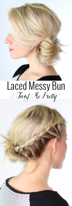 Cycling through the same few hairstyles? Come try out this gorgeous and quick laced messy bun tutorial at Twist Me Pretty. Great style for summer!