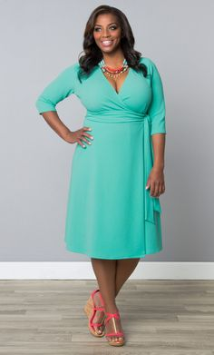 It's all in the name!  Our plus size Effortless Wrap Dress is the classic style you need in your wardrobe.  The vibrant color brightens up your day and the easy design makes looking so good, so easy.  Browse our entire made in the USA collection online at www.kiyonna.com.  #KiyonnaPlusYou