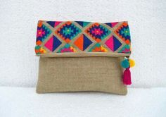 VLiving Boho Vibrant Multicolor Embroidered Kilim Pattern Linen Fabric Moroccan Foldover Clutch x 8 in. Linen Bag, Linen Fabric, Cotton Fabric, Foldover Clutch, Clutch Bag, Pochette Diy, Sacs Tote Bags, Embroidery Bags, Boho Bags
