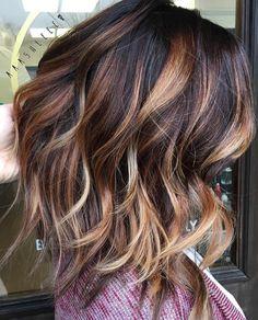 Dark brown with caramel and blonde balayage