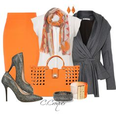 A fashion look from March 2014 featuring sheer blouses, button jacket and orange skirt. Browse and shop related looks. Classy Outfits, Fall Outfits, Casual Outfits, Fashion Outfits, Womens Fashion, Color Naranja, Professional Outfits, Turquoise, Fashion Plates