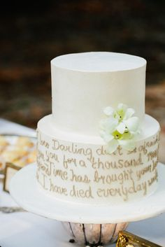 What better way to share your most romantic words than on a cake! Source: Pure 7 Studios #weddingcake