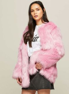 3099e3c0994 Miss Selfridge Coats, Pink Faux Fur Coat, Mid Length, Color Blocking, Fake