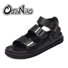 490cabd03e0197 OUDINIAO Summer Men Shoes Buckle Strap Gladiator Sandals Men Classics Mens  Shoes Black Beach Men Sandals